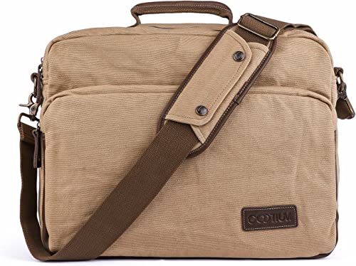 Gootium Canvas Laptop Shoulder Messenger Bag with Leather Handles for Men and Women, 40 cm, Khaki