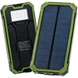 Levin Solar Charger 15000 mAh, Solar Power Bank with 8 LED Flashlight Dual USB Port Solar Panel Portable Charger Outdoor Backup for iPhone, iPad, iPod, Cell Phone, Tablet, Camera – Green