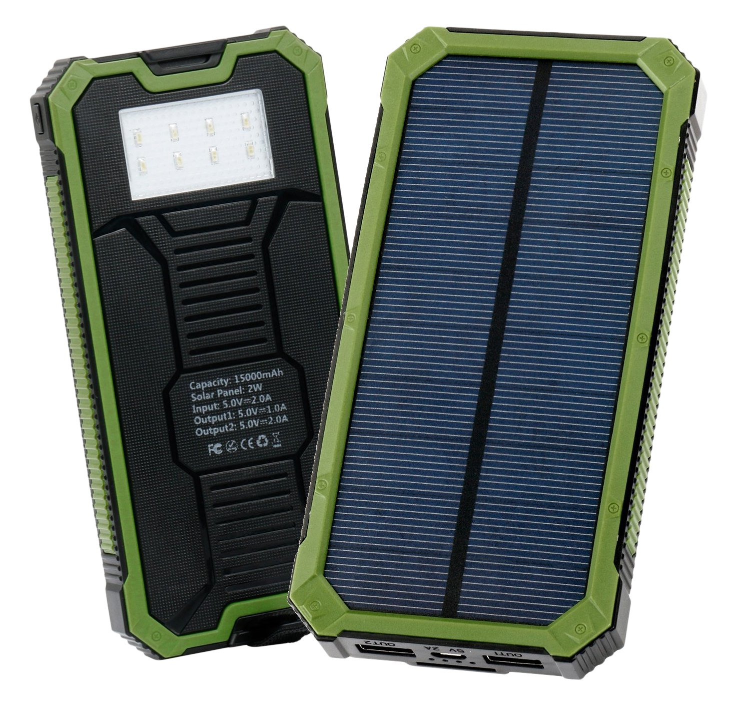 Levin Solar Charger 15000 Mah Solar Power Bank With 8 Led Flashlight Dual Usb.. 2