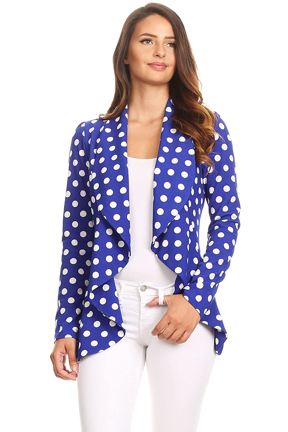 Instar Mode Women's Solid Formal Style Open Front Long Sleeves Blazer - Made in USA