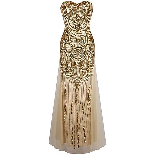 Angel-fashions Womens Strapless Dress Vintage Gatsby