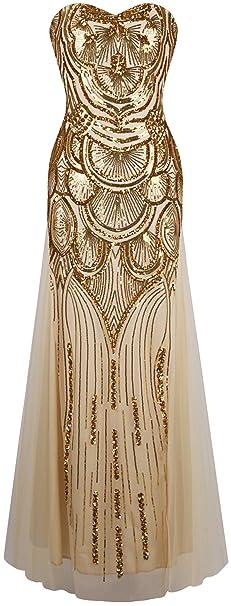 Angel-fashions Damen Paillette Trägerlos Schatz Mesh Gatsby Bankett Hochzeitskleid