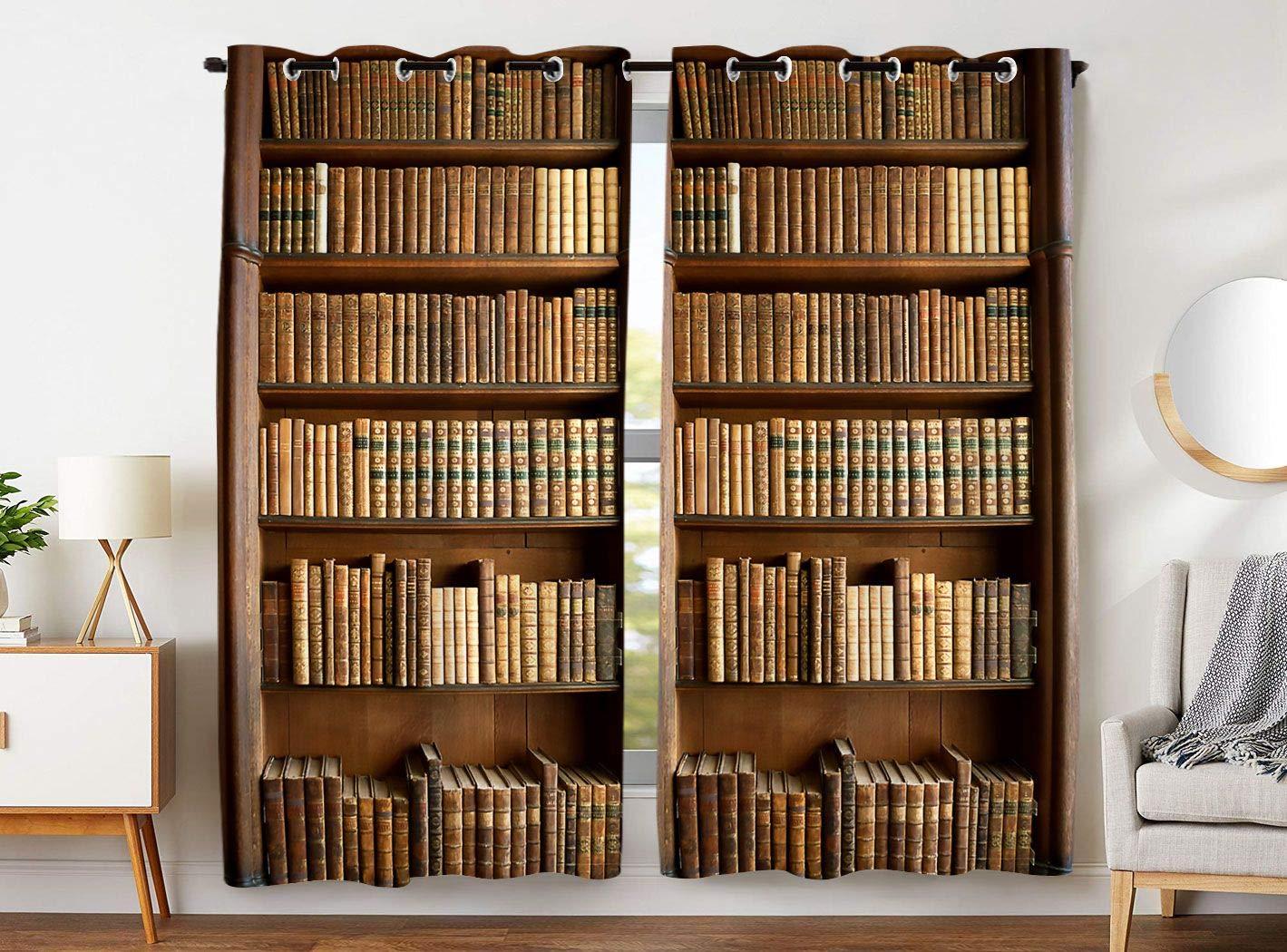 YISUMEI - Gardinen Blickdichter - Bücherregal Bücher,245 x 140 cm 2er Set Vorhang Verdunkelung mit Ösen für Schlafzimmer Wohnzimmer