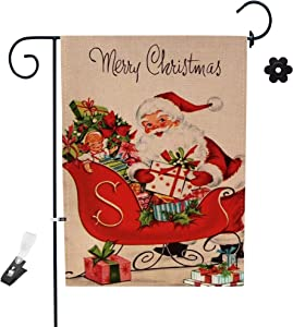 Christmas Garden Flag 12 x 18 Double Sided, Welcome Christmas Decorations Winter Yard Flag for House Farmhouse Outdoor Christmas Decor