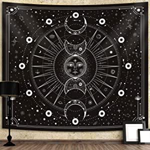 Sun Moon Tapestry Wall Hanging Stars Space Psychedelic Black and White Wall Tapestry for Bedroom Home Wall Décor