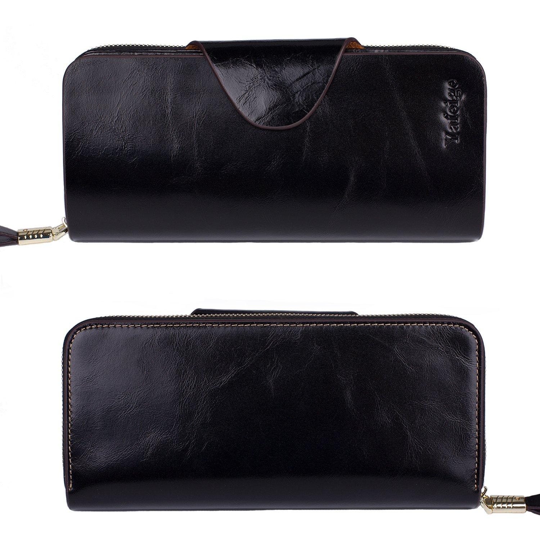 Yafeige Large Luxury Women's RFID Blocking Tri-fold Leather Wallet Zipper Ladies Clutch Purse(1-Waxed Black) by Yafeige (Image #3)
