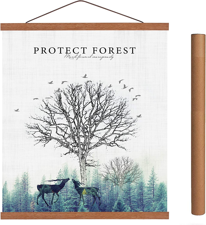 Arthome - Marco de madera de teca para póster de 100 cm, color blanco o negro, marco magnético de madera claro, kit para colgar póster para impresión artística o lienzo