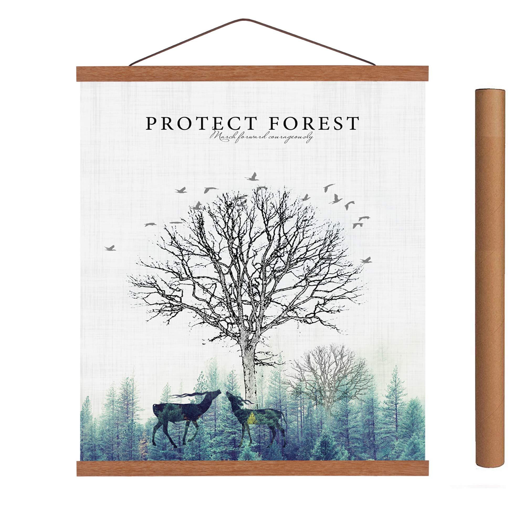 Mookgro 22'' Teak Poster Frame 22x34 22x28,Light Wood Magnetic Frames Wooden Poster Hanger Hanging Kit for Art Print or Canvas Artwork (55.88cm) by Mookgro