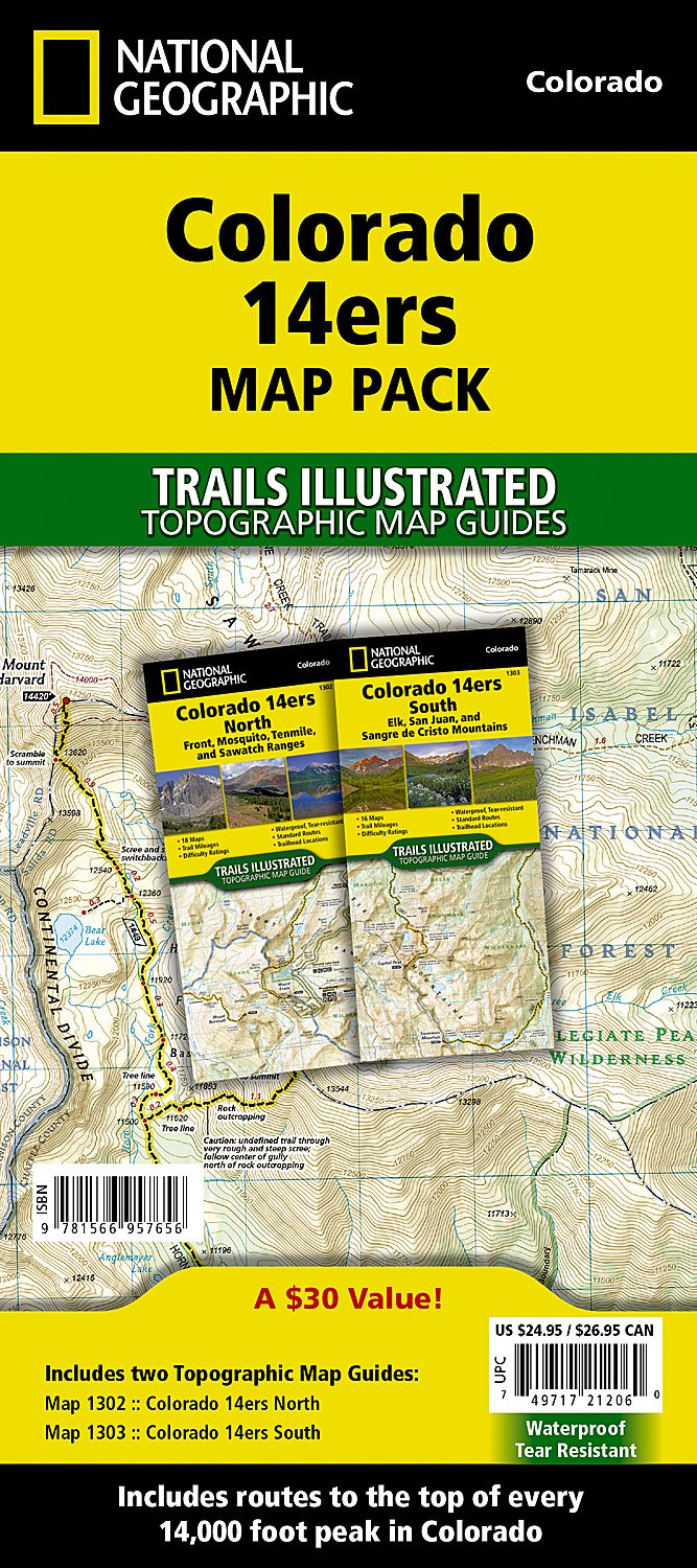 Colorado Ers Map Pack Bundle National Geographic Trails - 14ers map us