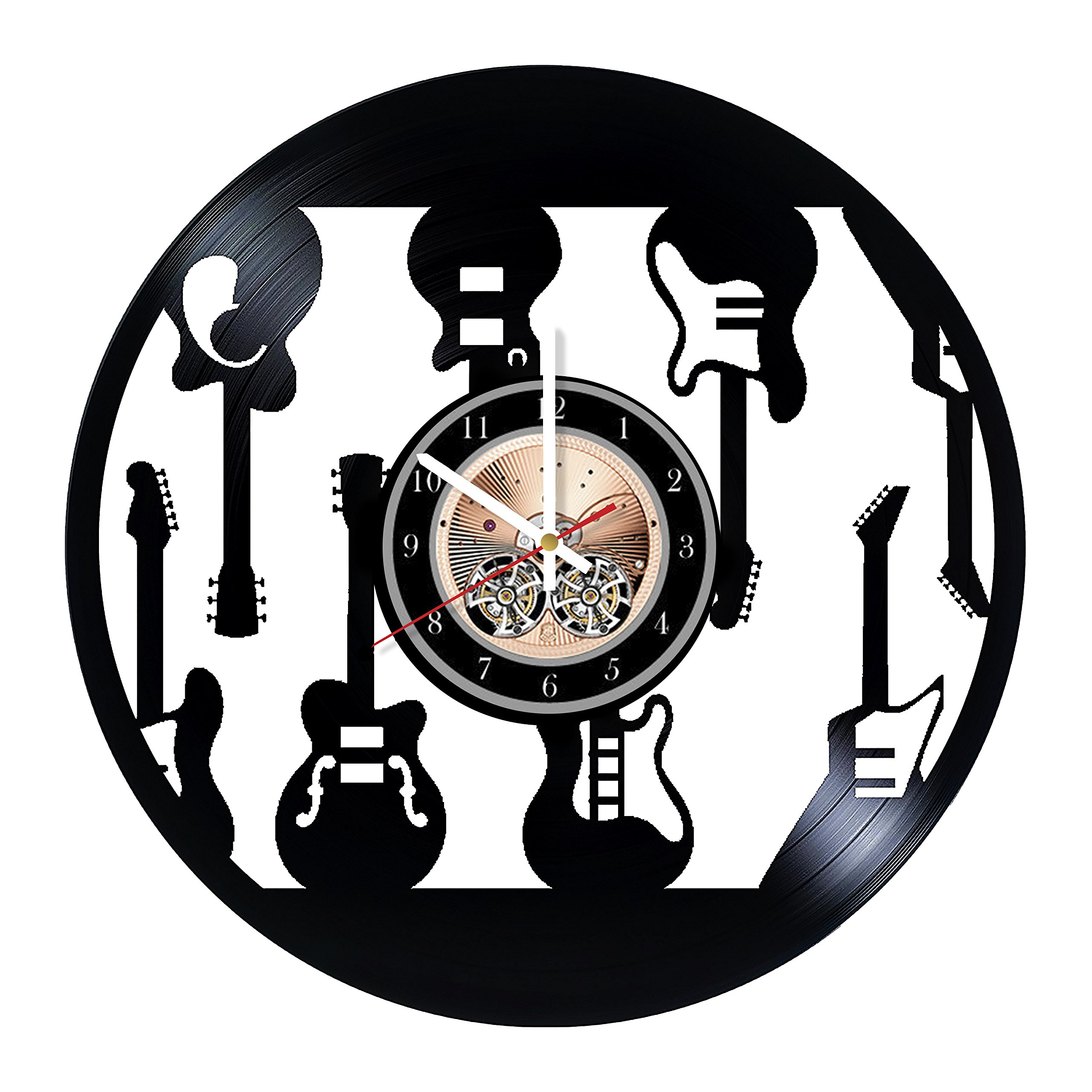 Electric Guitars Design Handmade Vinyl Record Wall Clock - Get unique home room wall decor - Gift ideas for men and women - Musical Instruments Unique Modern Art by Wood Workshop