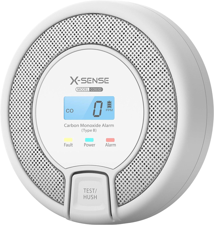 X-Sense Détecteur de CO avec Affichage numérique, détecteur de monoxyde de Carbone, capteur précis avec Une durée de Vie de 10 Ans, Batterie remplaçable, certifié BSI Selon en 50291, CO03D (1 pièce)