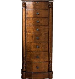 Amazoncom Large Floor Standing 8 Drawer Wooden Jewelry Armoire