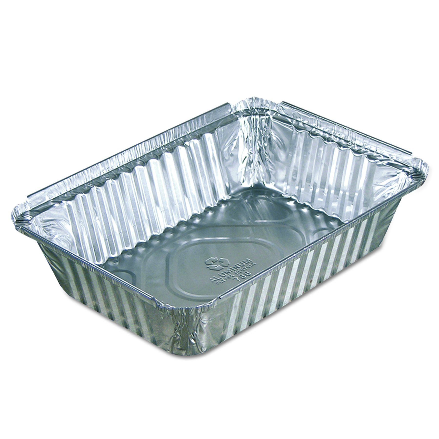 Pactiv Y78830 Oblong Food Pans, 36 oz, 1.61'' Length, 0.76'' Width, 1.39'' Height, Aluminum (Pack of 400)