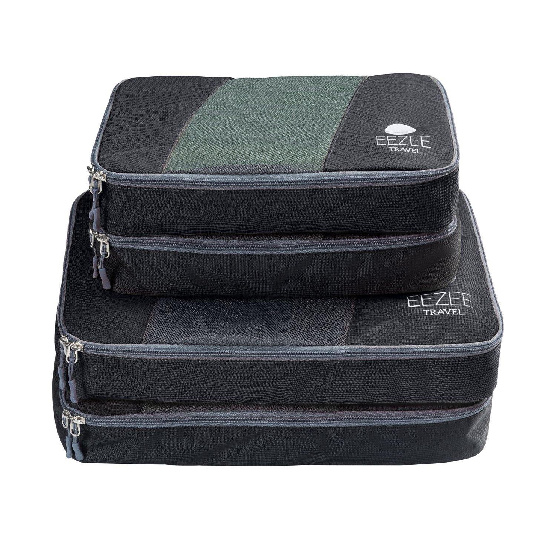 EEZEE旅行耐久性anti-tearパッキングキューブ服オーガナイザーバッグセットwith双方向ファスナーを 2 Large, 2 Medium ブラック 2 Large, 2 Medium ブラック B07539RRT7