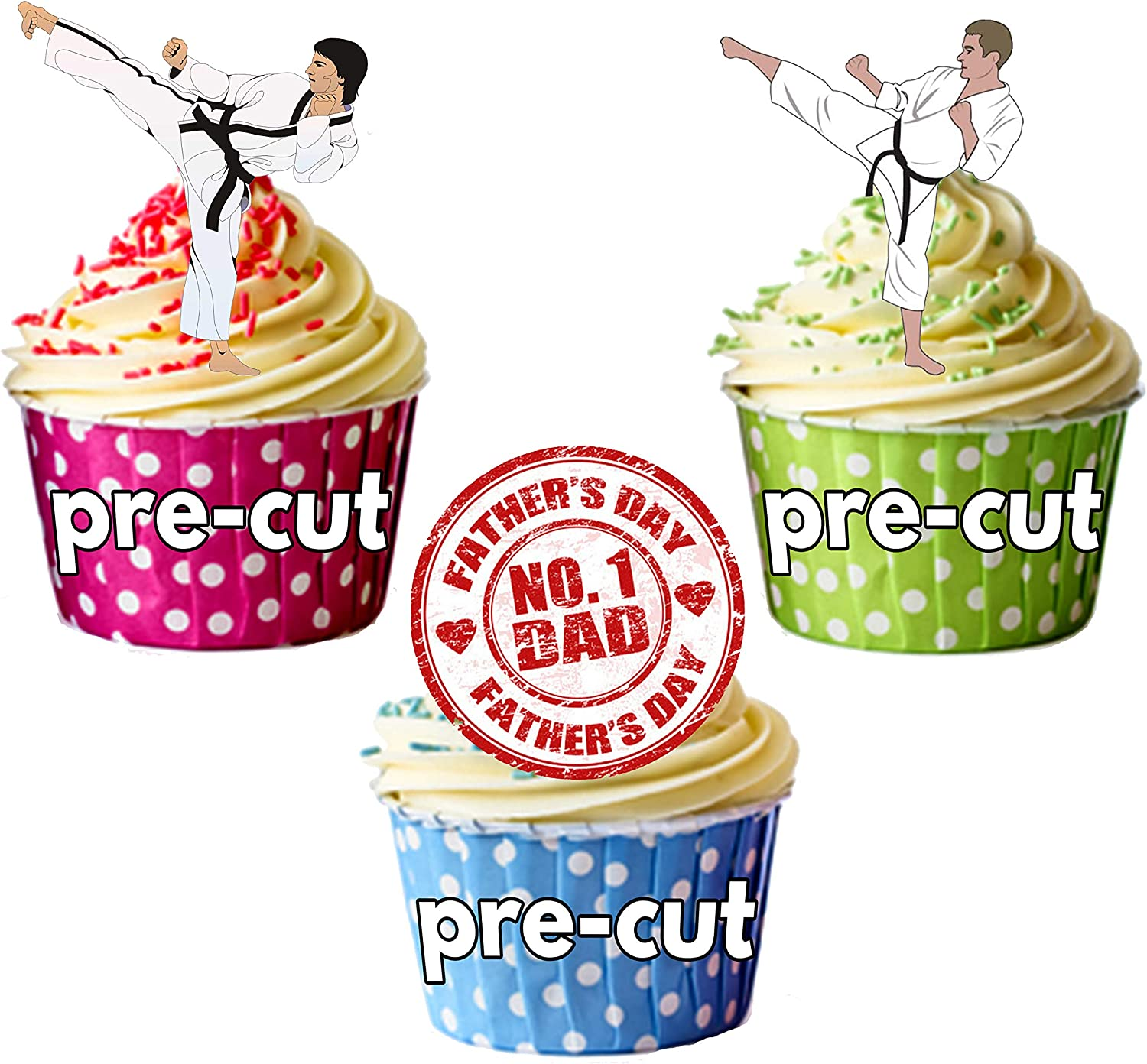 16 Fathers Day Worlds Best Dad STAND UP STANDUP Edible Cup Cake Toppers precut