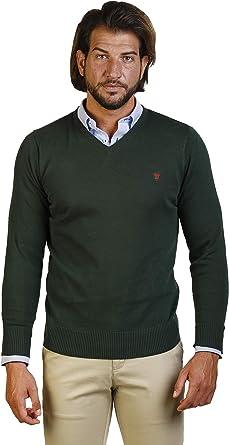 Jersey Hombre Cuello Pico Cuello en V. Suéter Mangas largas Verde ...