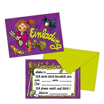 16 Teiliges Set: 8 Einladungskarten Mit 8 Umschläge * Hexe Violetta * Für  Kindergeburtstag