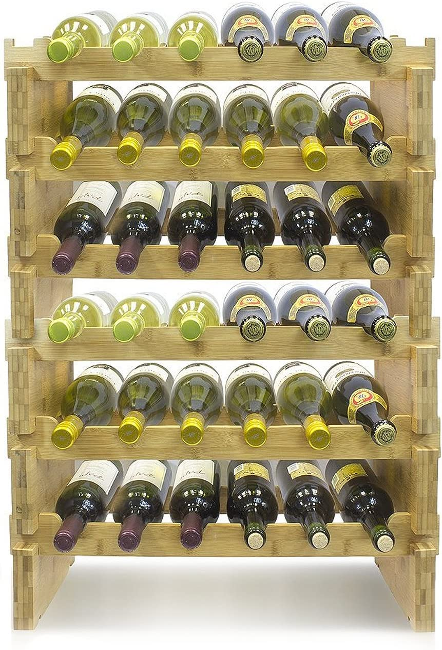 6-Tier Stackable Bamboo Wine Rack