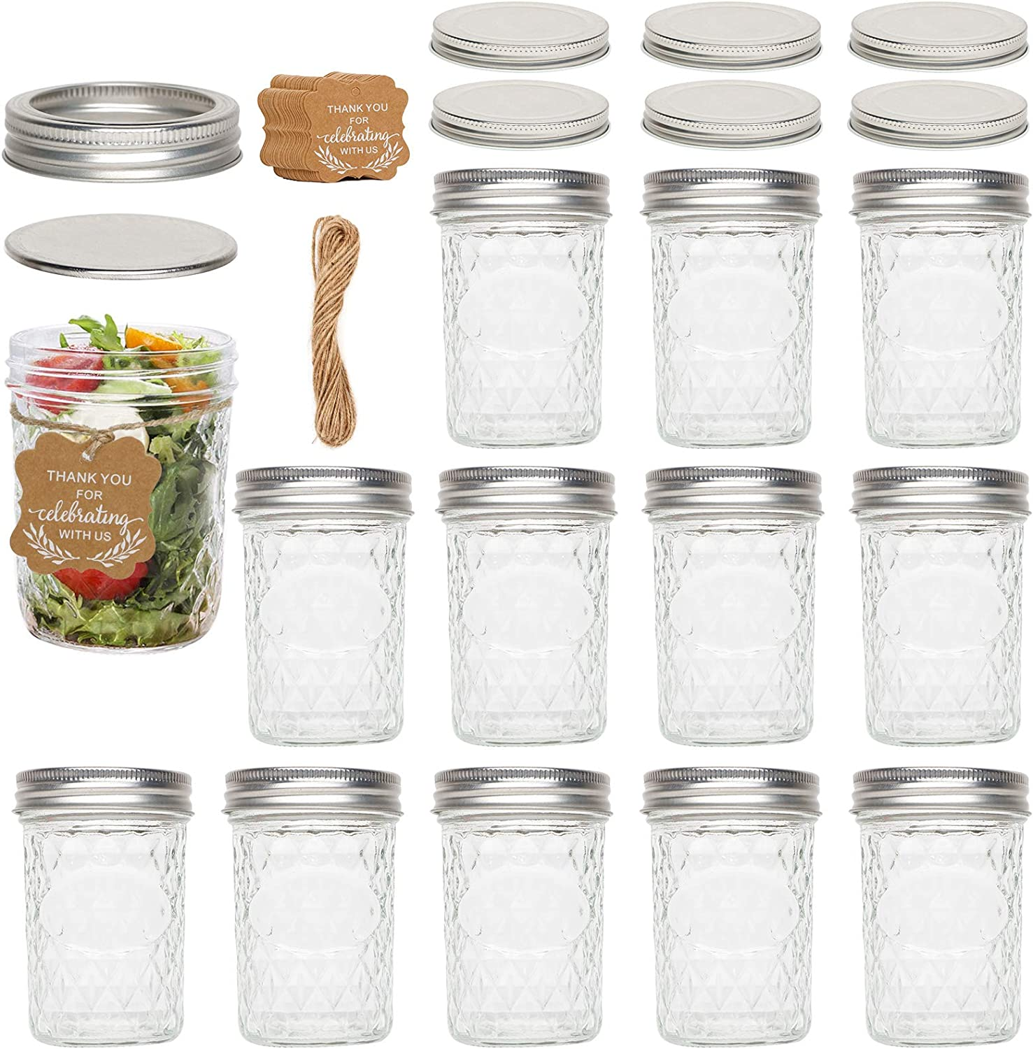 Mason Jars 8 OZ, 12 Pack Canning Jars Jelly Jars With Regular Lids and Bands/Paper Gift Tags & Twine/Extra 6 Lids, Ideal for Jam, Honey, Wedding Favors,Shower Favors, Baby Foods