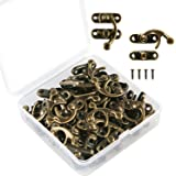 Aneco 30 Sets Antique Right Latch Hook Hasp Wood Jewelry Box Hasp Catch Decoration with Replacement Screws, Bronze Tone (Right Latch Hasp)