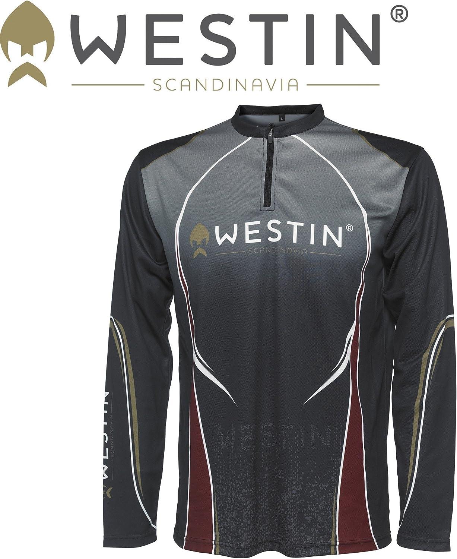 Shirt Langarm Shirt Anglerkleidung Westin Tournament Shirt LS Pirate Black f/ür Angler Angelbekleidung