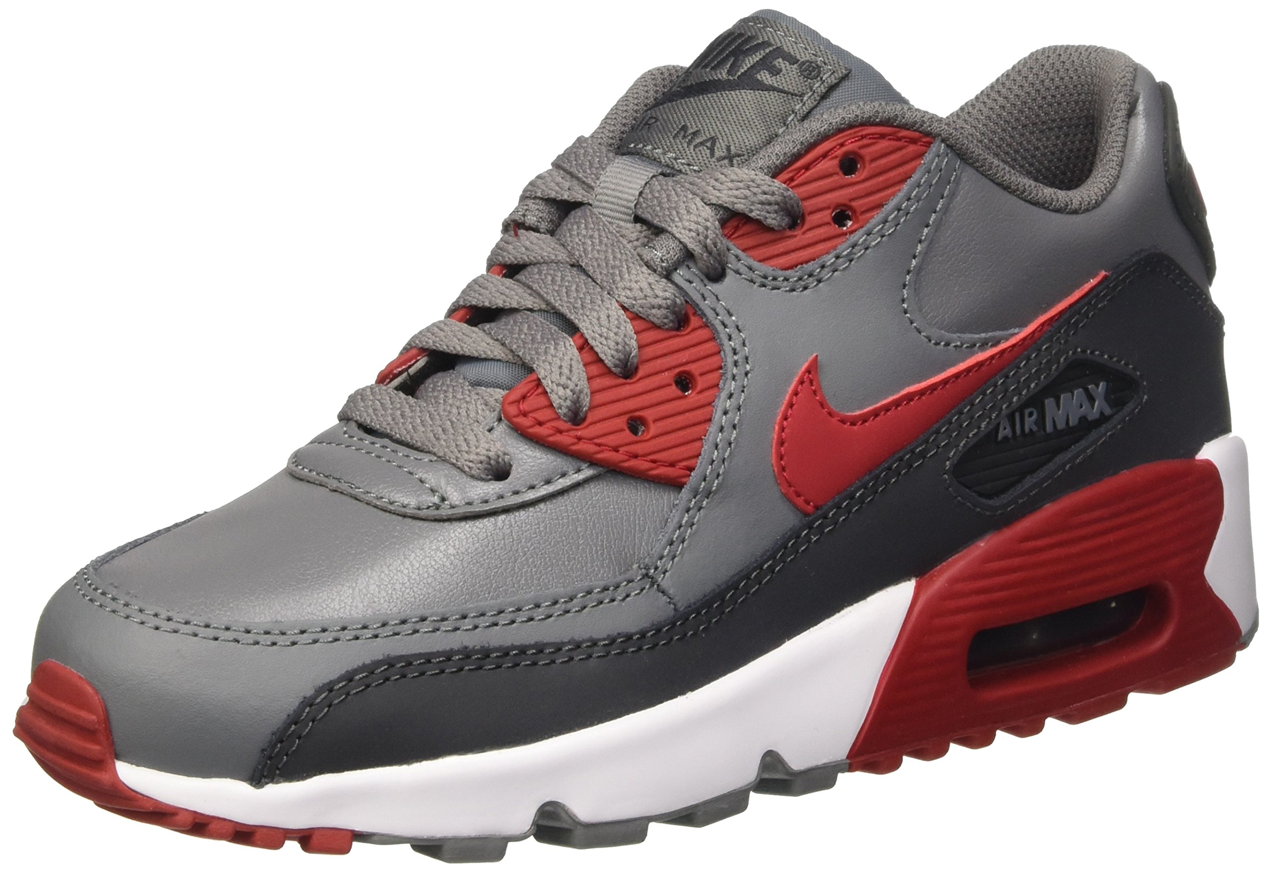 Nike 833412-007 Kid's Air Max 90 Leather Running Shoes, Cool Gray/Gym Red/Anthracite, 4.5 M US Big Kid