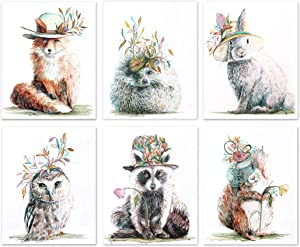 Woodland Nursery Decor Baby Animal Watercolor Wall Art for Girly Room (Set of 6) - 8x10 UNFRAMED Prints