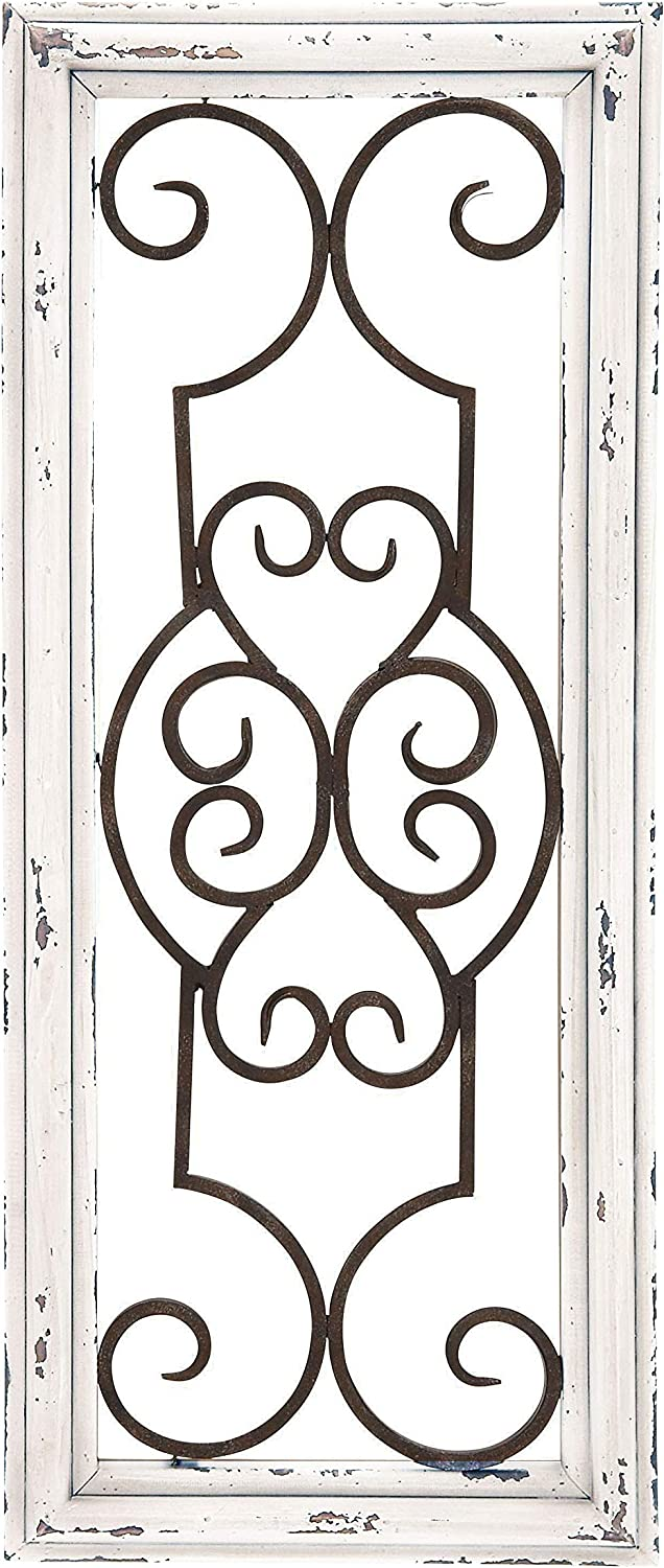 Wood Metal Decorative Wall Panel, 24.25 Inches High x 10.25 Inches Wide, Ivory Off-White Distressed Finish with Black Metal Scroll Work Design