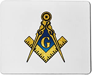 Blue & Gold Square & Compass Masonic Mouse Pad