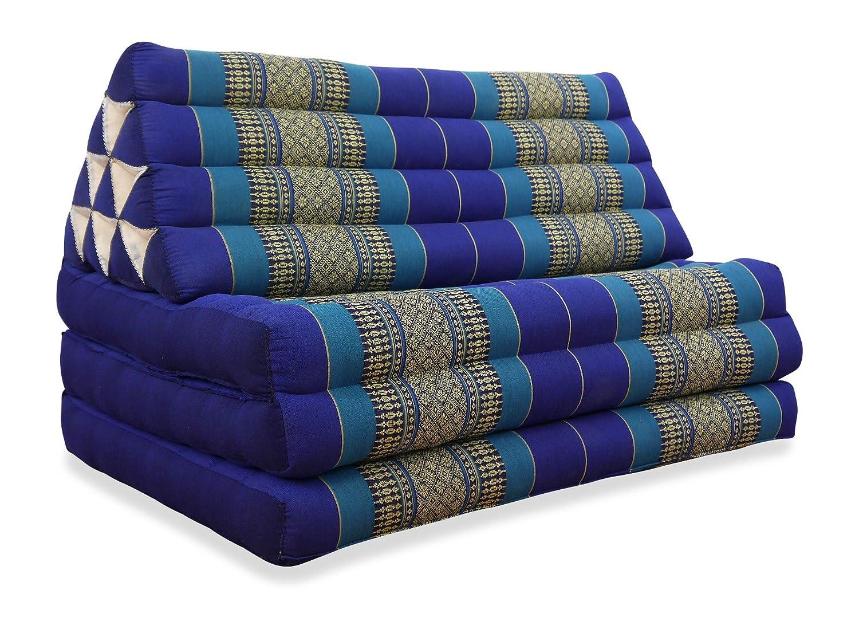 livasia XXL Thaikissen im Jumbo Format, Thaikissen der Marke Asia Wohnstudio, Dreieckskissen mit 100% Kapokfüllung, Thaimatte, (rot/grün)