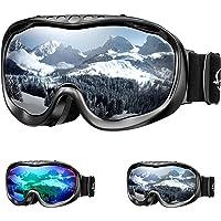ENKEEO Maschera da Sci, Occhiali da Snowboard OTG, Doppia Lente Anti-Nebbia, Anti-graffio e Anti-Vento,100% Protezione UV400, Telaio Curvabile, Ideale per Sport Invernali, Unisex