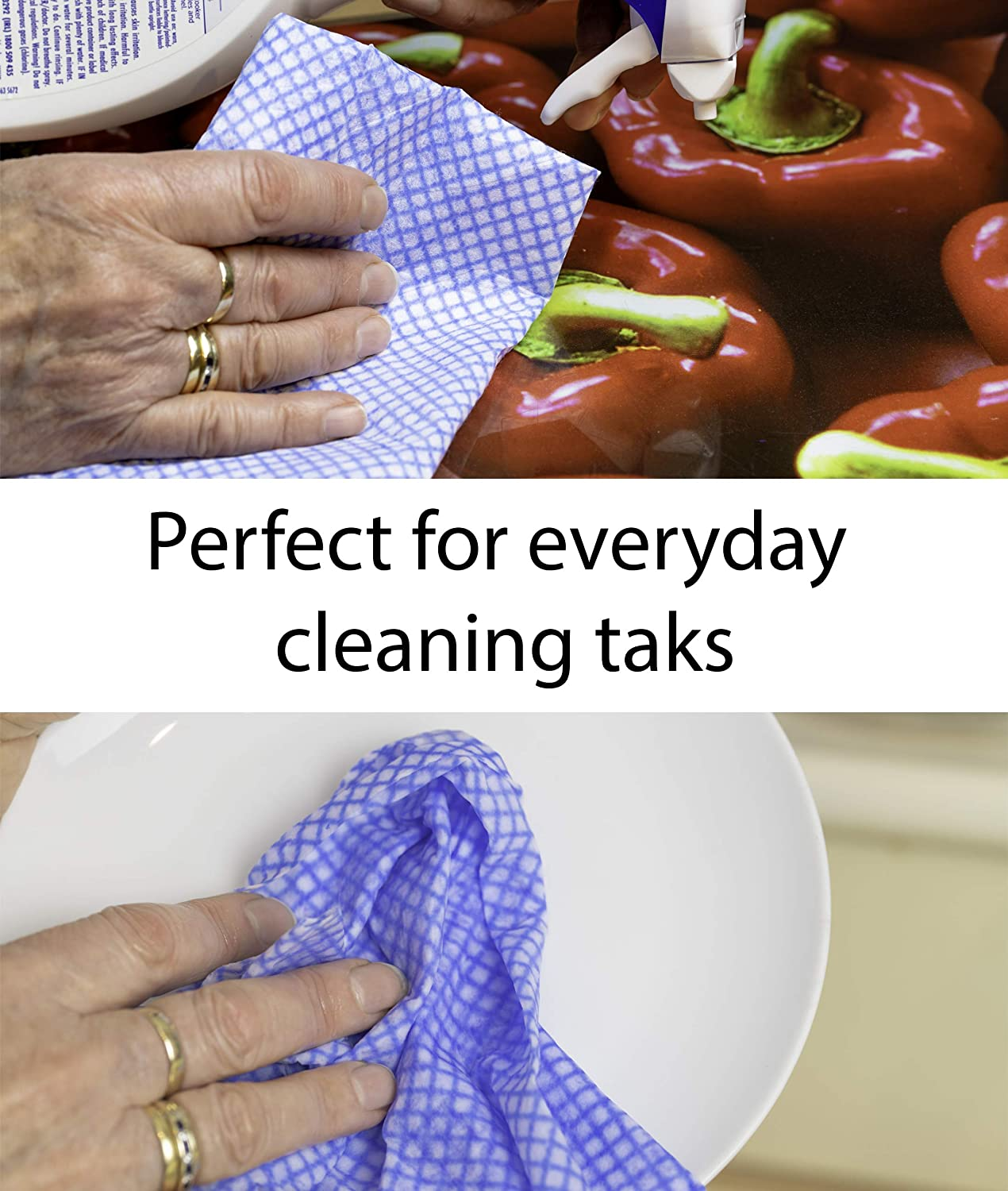 4 Packs per Box. | 50cm x 35cm 200 Large Multi Purpose Standard Weight Blue Disposable Cleaning Cloths 50 Cloths per Pack J ClothsStyle