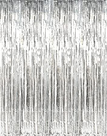 Forum Shiny Silver Tinsel Foil Fringe Door Window Curtain Party Holiday Decoration