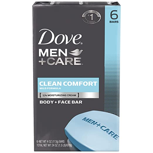 Dove Men+Care Clean Comfort Body+Face Bar, 4 Ounce, 6 Count (Pack of 2)