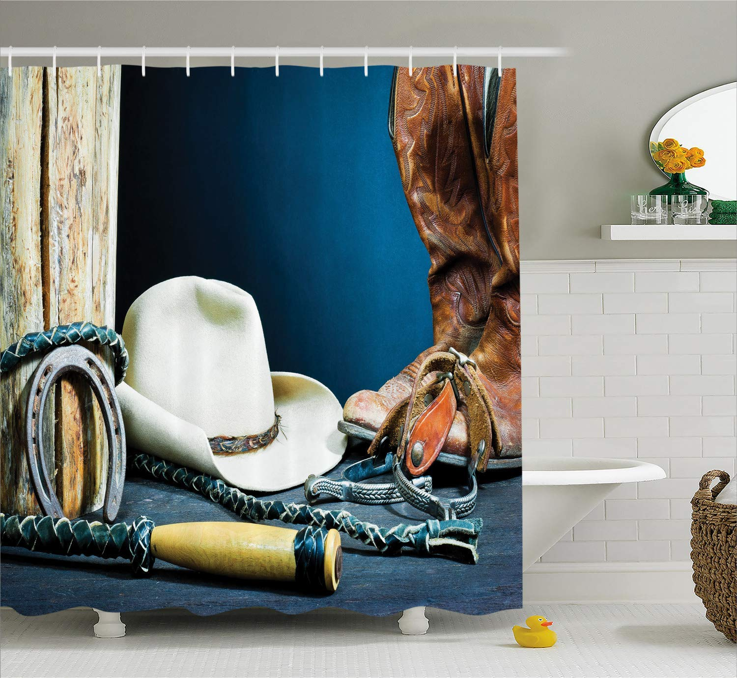 DIY Western Decor Shower Curtain, Equestrian Backdrop with Antique Horseshoe Hat Cowboy Texas Style, Fabric Polyester Waterproof 12 Stainless Steel Hook, 72 x 72 Inches Blue Brown