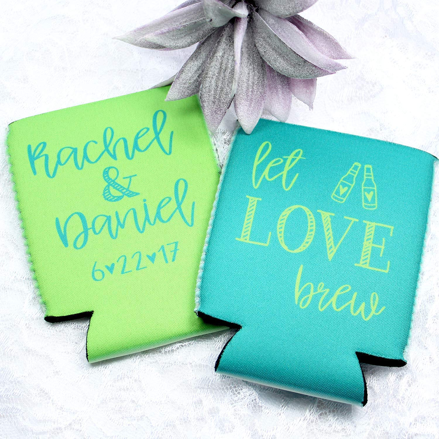 Personalized Wedding Can Coolers Let Love Brew Multiple Colors/Quantities  Available Personalized Wedding Favors Neoprene Can Coolers