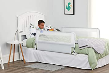 Swing Down Extra Long Bed Rail Guard with Reinforced Anchor Safety System White 54-Inch