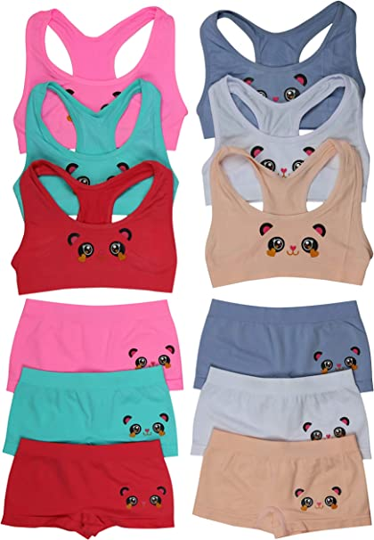 ToBeInStyle Girls Pack of 6 Set of Racerback Bras and Boyshorts or Bikinis