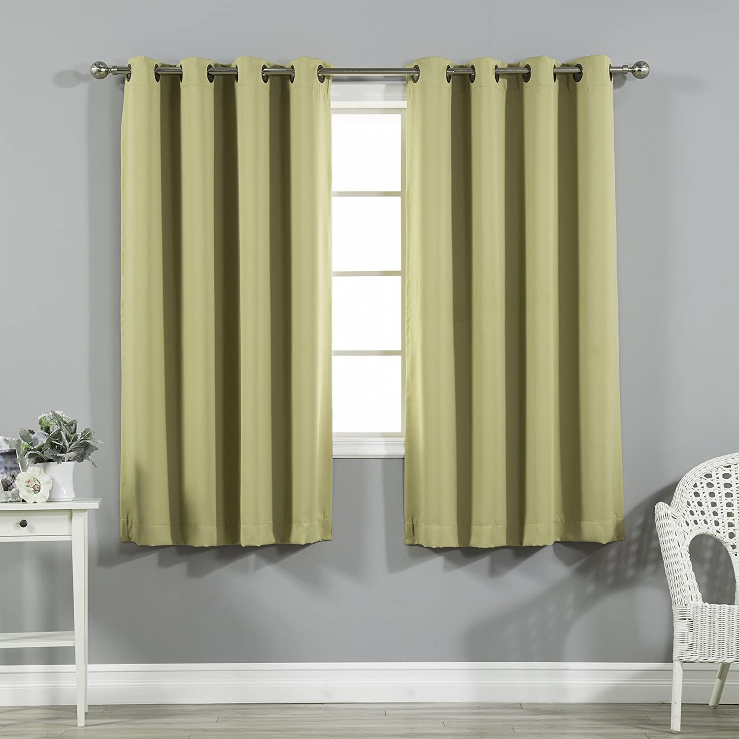 Best Home Fashion Premium Thermal Insulated Blackout Curtains - Antique Bronze Grommet Top - Sage