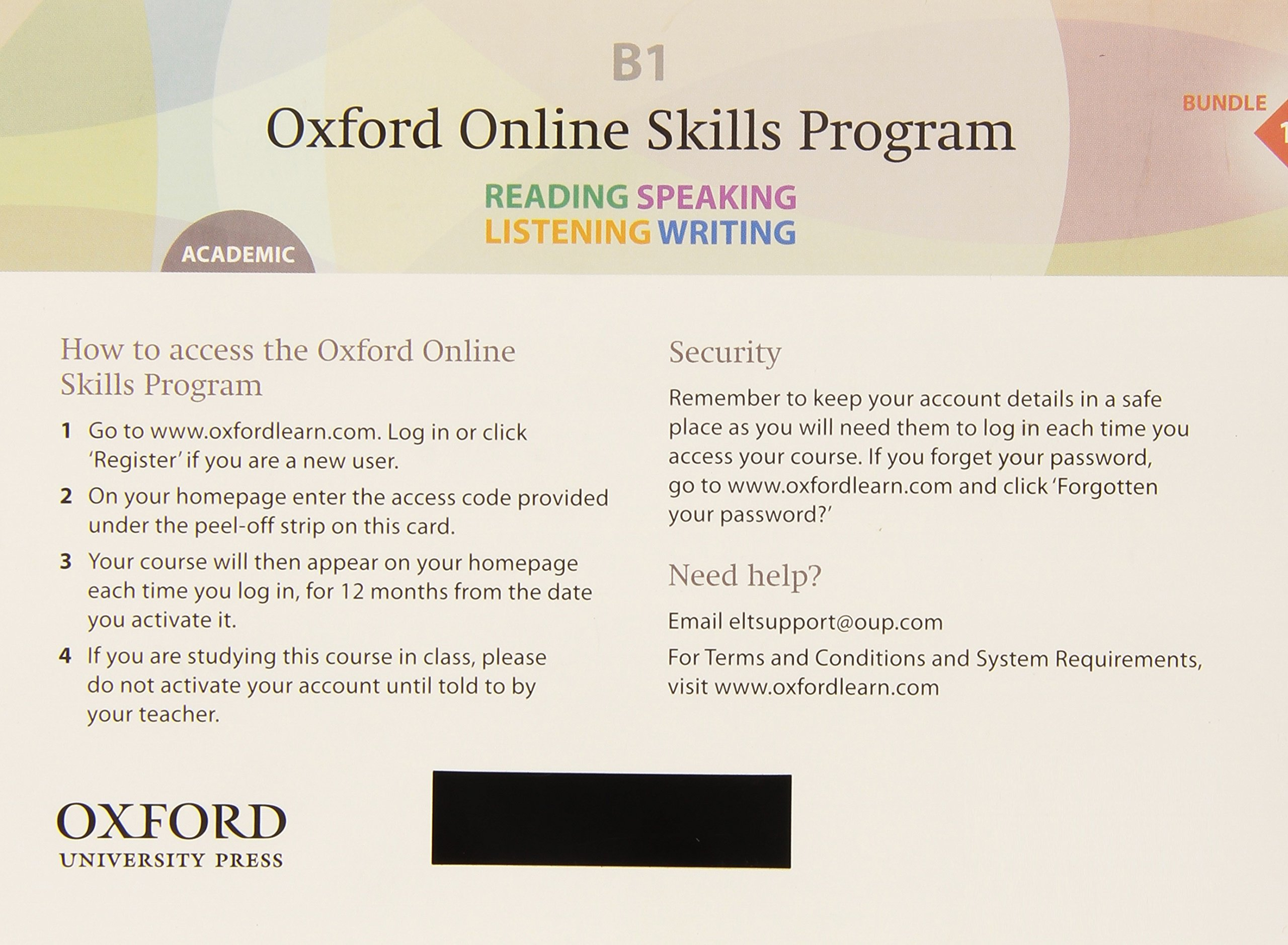 Oxford Online Skills Program: B1,: Academic Bundle 1 - Card with Access Code: Skills development aligned to the CEFR ebook