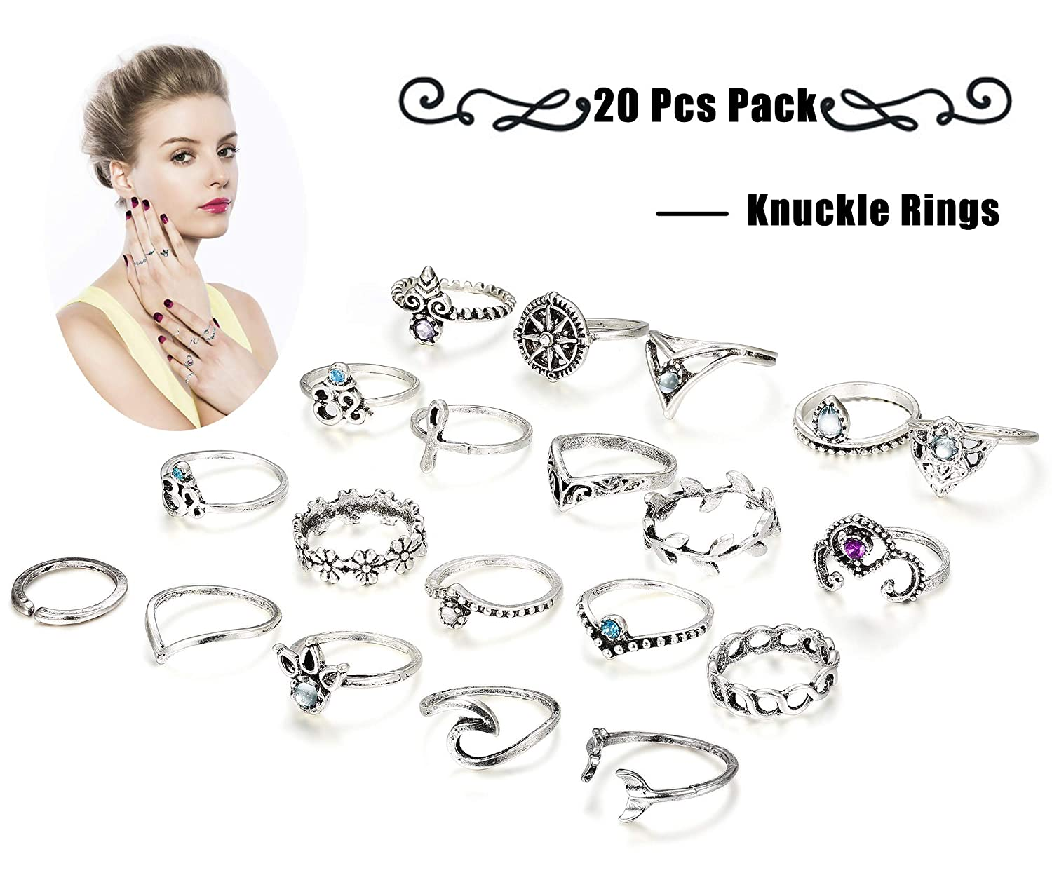 Finrezio 20 Pcs Knuckle Rings Vintage Stackable Midi Finger Ring Set for Women Girls Bohemian Retro Vintage Jewelry B07GX9H7C5_US
