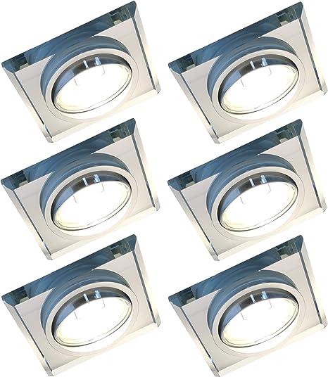 LED Einbaustrahler Glas Decken Spots Rahmen Flach Eckig GU10 230V 3W 6W 5W