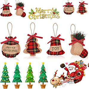 8 Pcs Rustic Christmas Tree Ornaments, Retro Plaid Farmhouse Country Primitive Burlap Christmas Ornaments, Hanging Decorations Stocking Ball Tree Star Shapes for Holiday Party Home Decor(4 Styles)