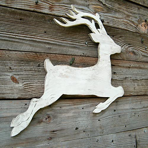 white reindeer christmas decorations wooden reindeer winter deer reindeer holiday decor - Wooden Deer Christmas Decorations
