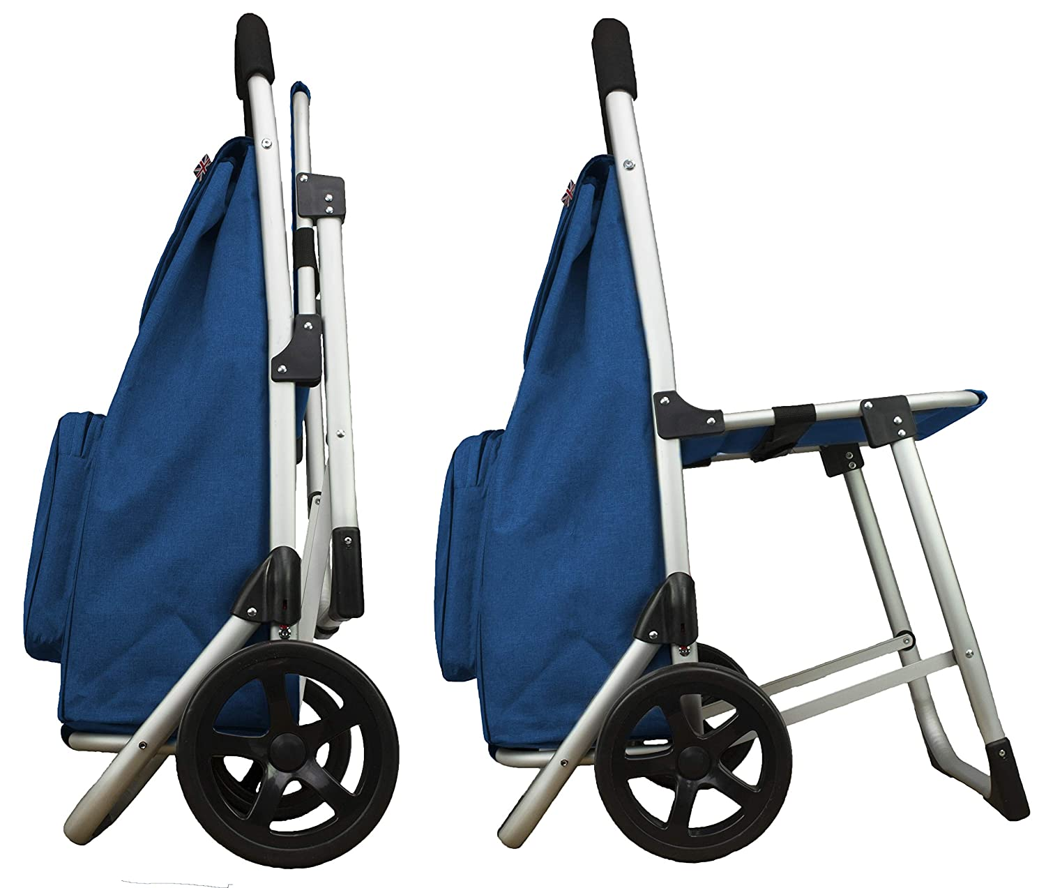 Bergs Aluminium Shopping Trolley with Seat Blue