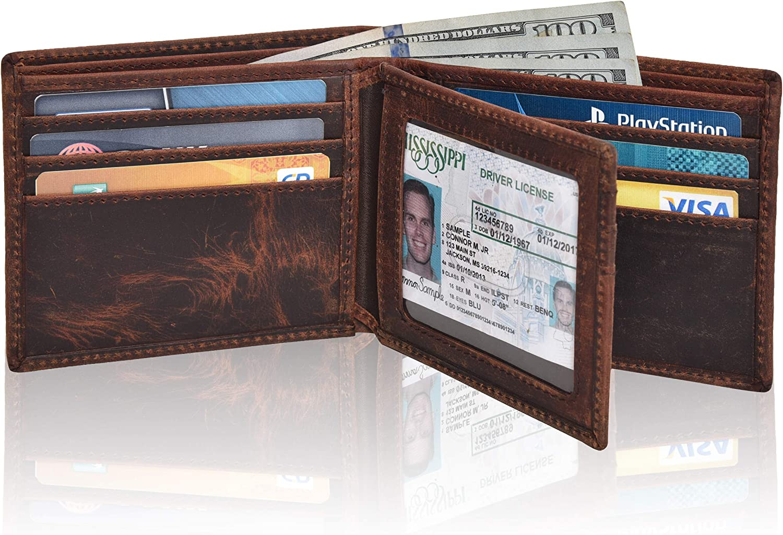 Slim RFID Wallets for Men - Genuine Leather Front Pocket Bifold Wallet