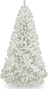 National Tree Company Artificial Christmas Tree | Includes Pre-strung White Lights and Stand | With Glitter Branches | North Valley Spruce - 7 ft