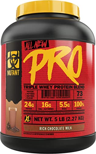 Mutant Pro Triple Whey Protein Powder Supplement Time-Released for Enhanced Amino Acid Absorption Decadent Gourmet Flavors 5 lbs Rich Chocolate