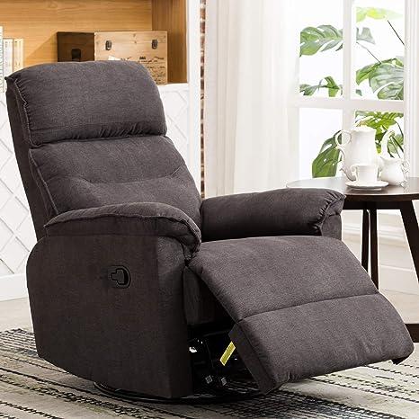 Super Anj Swivel Rocker Recliner Chair Single Modern Sofa Home Theater Seating Manual Reclining Chair For Living Room Gray Beatyapartments Chair Design Images Beatyapartmentscom
