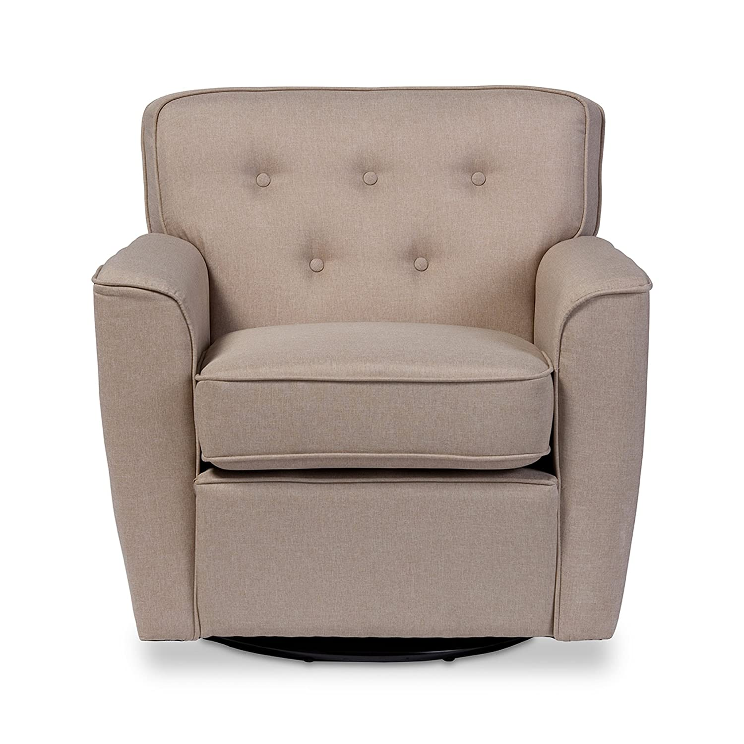 Amazon.com: Wholesale Interiors Canberra Retro Fabric Upholstered  Button Tufted Swivel Glider Lounge Chair With Arms, Large, Beige: Kitchen U0026  Dining Part 94